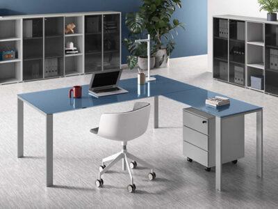 Om U Leg Glass Executive Desk 2