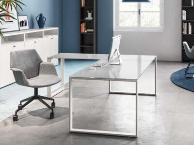 Pantiya Ring Leg Glass Executive Desk Extension 2