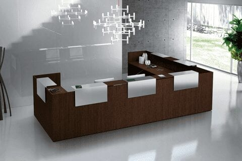Zeus – Reception Desk in Dark Oak with Overhand Panel