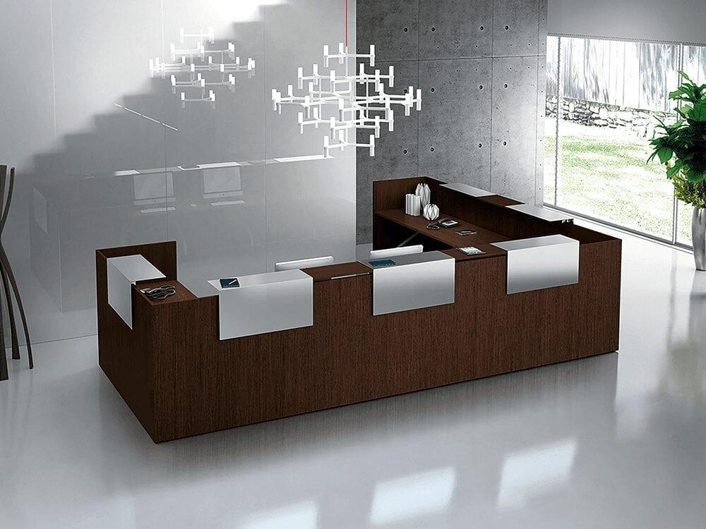 Zeus – Reception Desk in Dark Oak with Overhand Panel