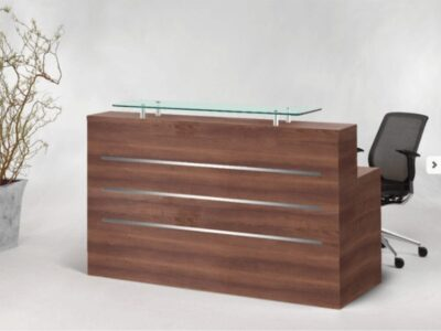 Aesop 1 – Reception Desk in Natural Dijon Walnut