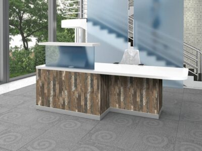 Aida 1 – Reception Desk in Pasadena Pine with Upstand