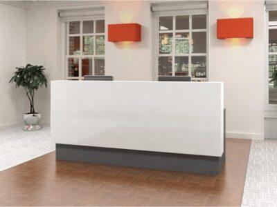 Reem – Reception Desk with wheelchair access in Premium White