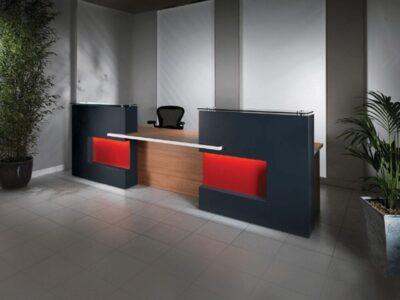 Safa 1 – Reception Desk in Westminster Oak with Black Front