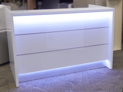 Reception Desk In White With Led Illumination–altair At 2 1