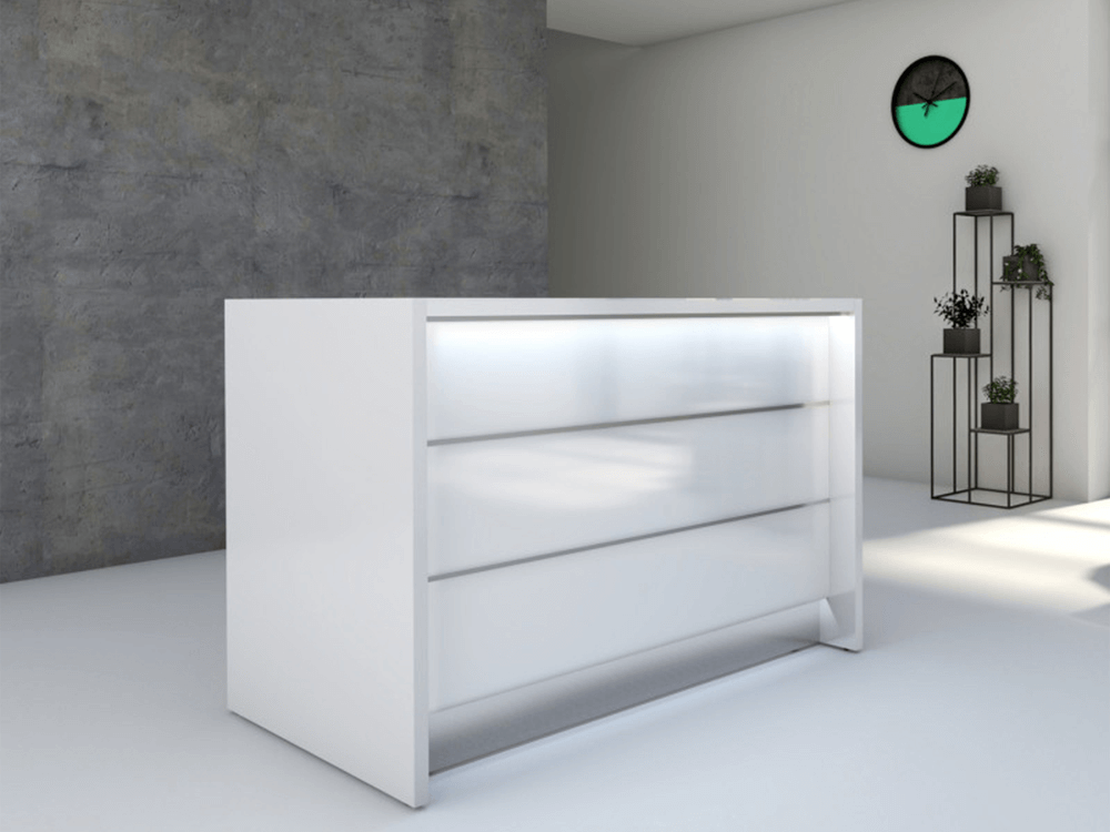 Reception Desk In White With Led Illumination–altair At 2 White