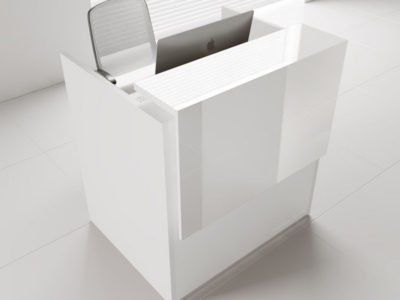 Reception Desk In White With Overhang Panel–ares Ar 2 3