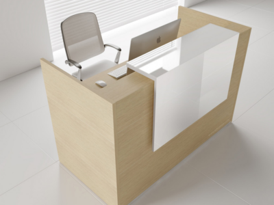Reception Desk In White With Overhang Panel–ares Ar 2 5