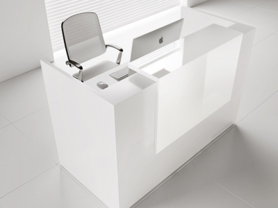 Reception Desk In White With Overhang Panel–ares Ar 2 7