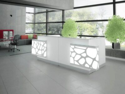 Jolie 1 – Reception Desk in White with Striking Colour Effects