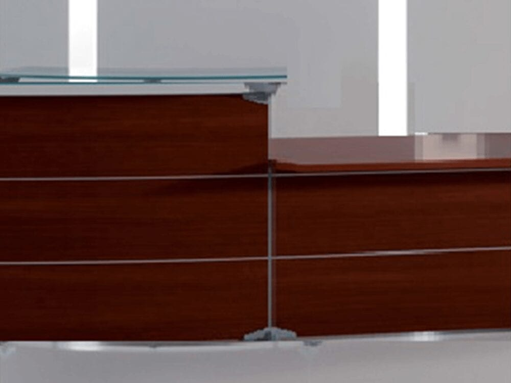 Benito 2– Reception Desk with Glass Top and DDA Approved wheelchair Access Unit