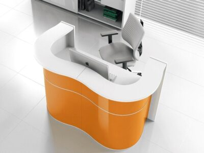 Leyla 2 – Reception Desk with Gloss Lacquered Front