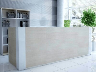 Andreas 5 – Reception Desk with Gloss White Corners