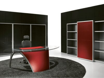 Suno – Reception Desk with Leather Finishes