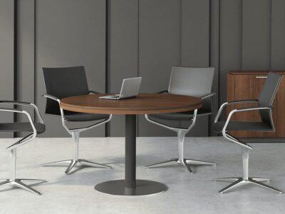 Hamburg – Round Meeting Table with Grey Column