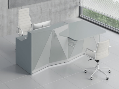 Silver Reception Desk With Wheelchair Access Unit–ares 2 Alp21l Aluminum