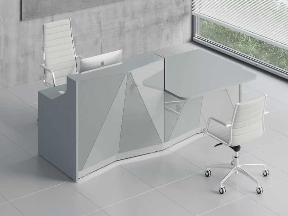Silver Reception Desk With Wheelchair Access Unit–ares 2 Alp21l Aluminum