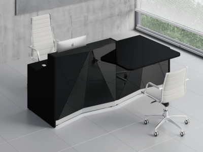 Silver Reception Desk With Wheelchair Access Unit–ares 2 Alp21l Black