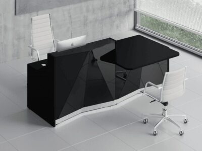 Andreas 9 – Silver Reception Desk with Wheelchair Access Unit