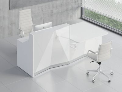 Silver Reception Desk With Wheelchair Access Unit–ares 2 Alp21l White
