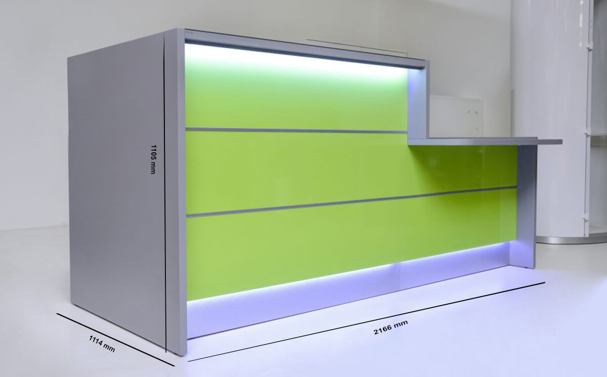 Size Alba 3 – Reception Desk With Lime Front