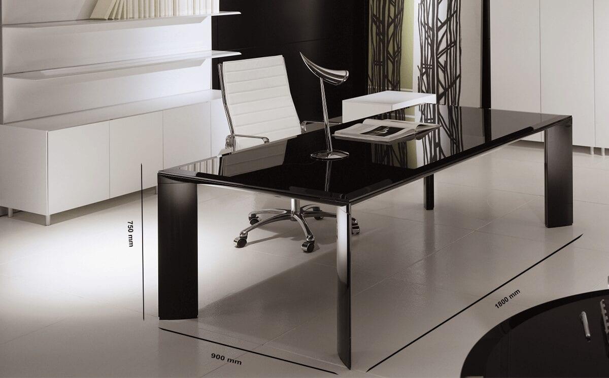 Naya - Executive Desk with Aluminium Legs and Optional Credenza Unit