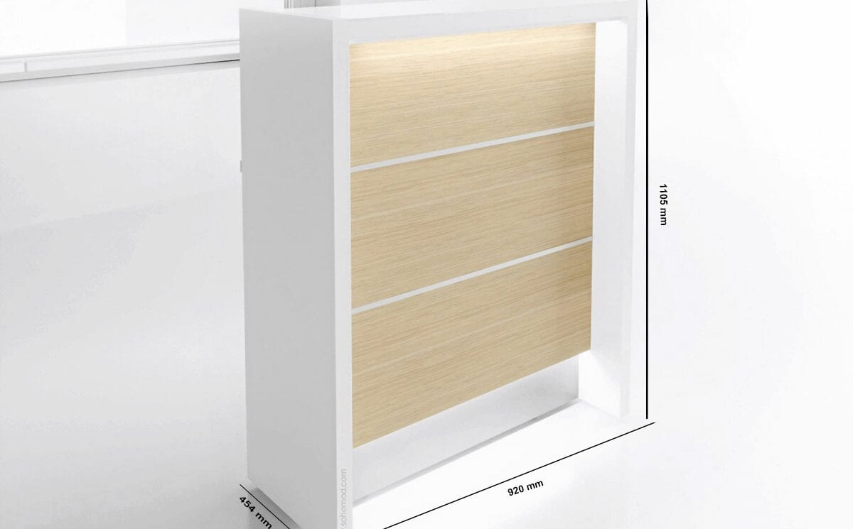 Alba 1 – Reception Desk in White with Multiple Front Finishes