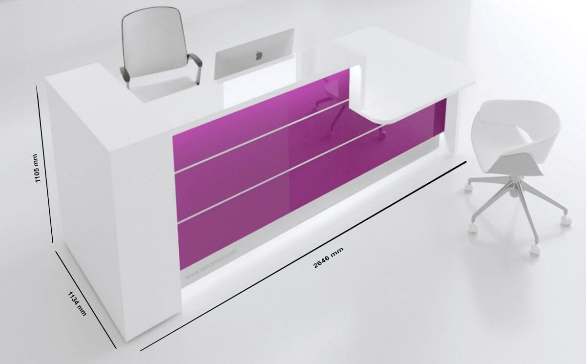 Alba 5 – Green Lacquered Reception Desk in White  with wheelchair access