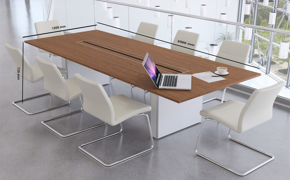 Size Aurora – Rectangle Boardroom Table With Slab Legs