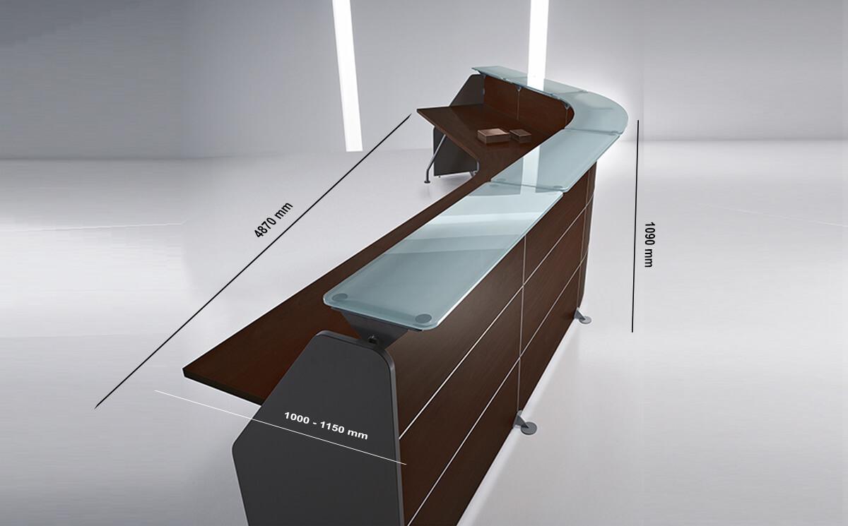 Size Benito 1 – Straight Reception Desk With Aluminium Contour Lines