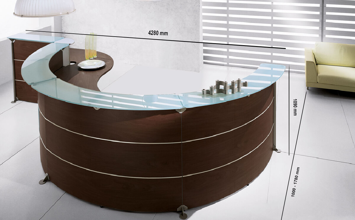 Size Benito 3 – Dark Oak Reception Desk With Glass Shelf Top