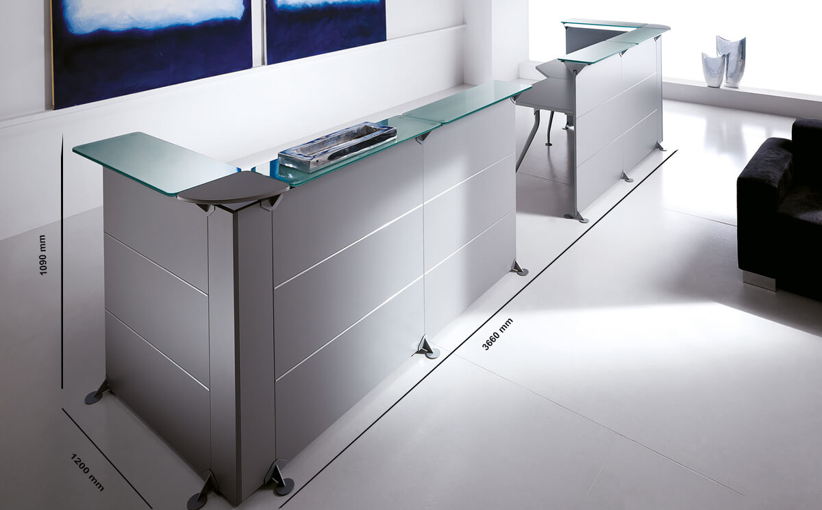 Size Benito 4 – Reception Desk In Grey With Glass Top