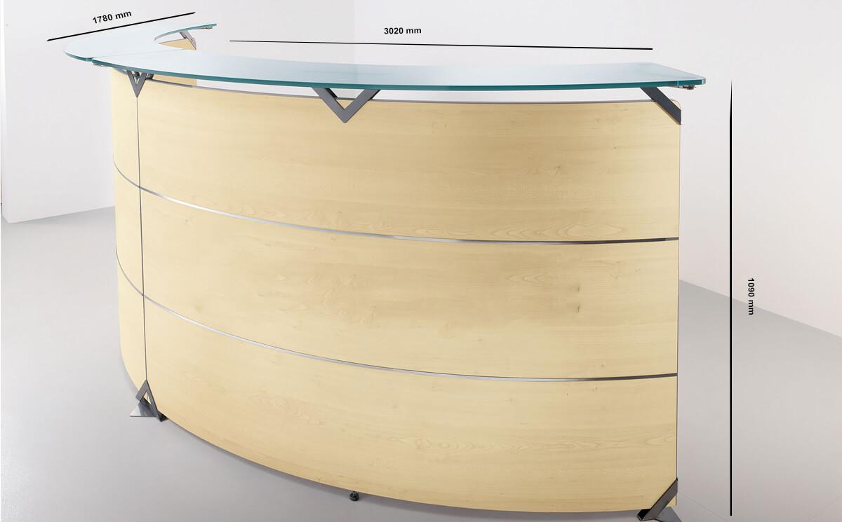 Size Benito 6 – Curved Reception Desk