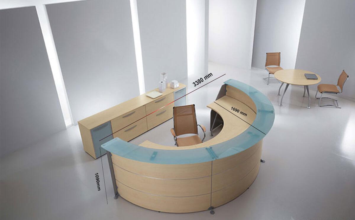 Size Benito 7 – 60 Degree Modular Reception Desk