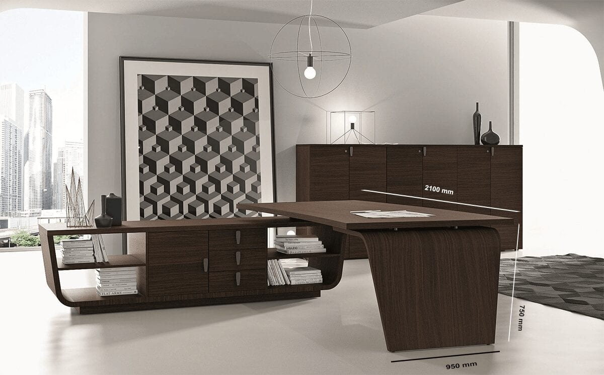 Oxford 5 - Curved Wooden Executive Desk