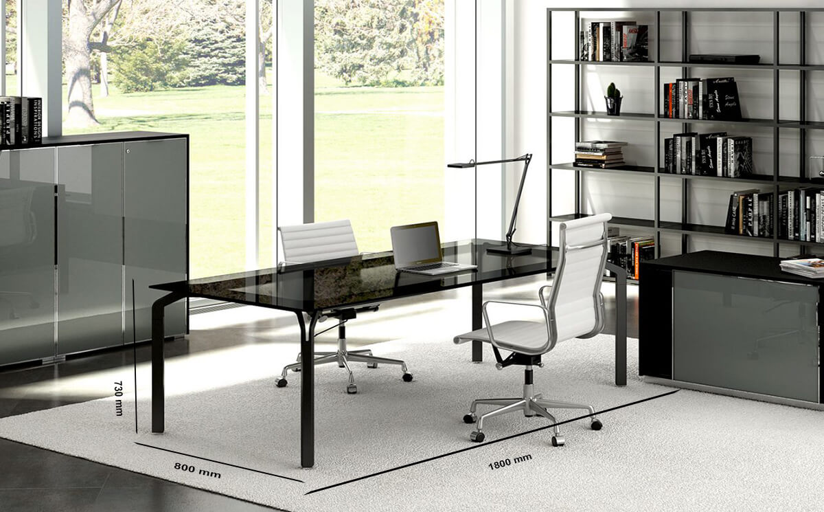 Size Hue – Glass Executive Desk With White Legs