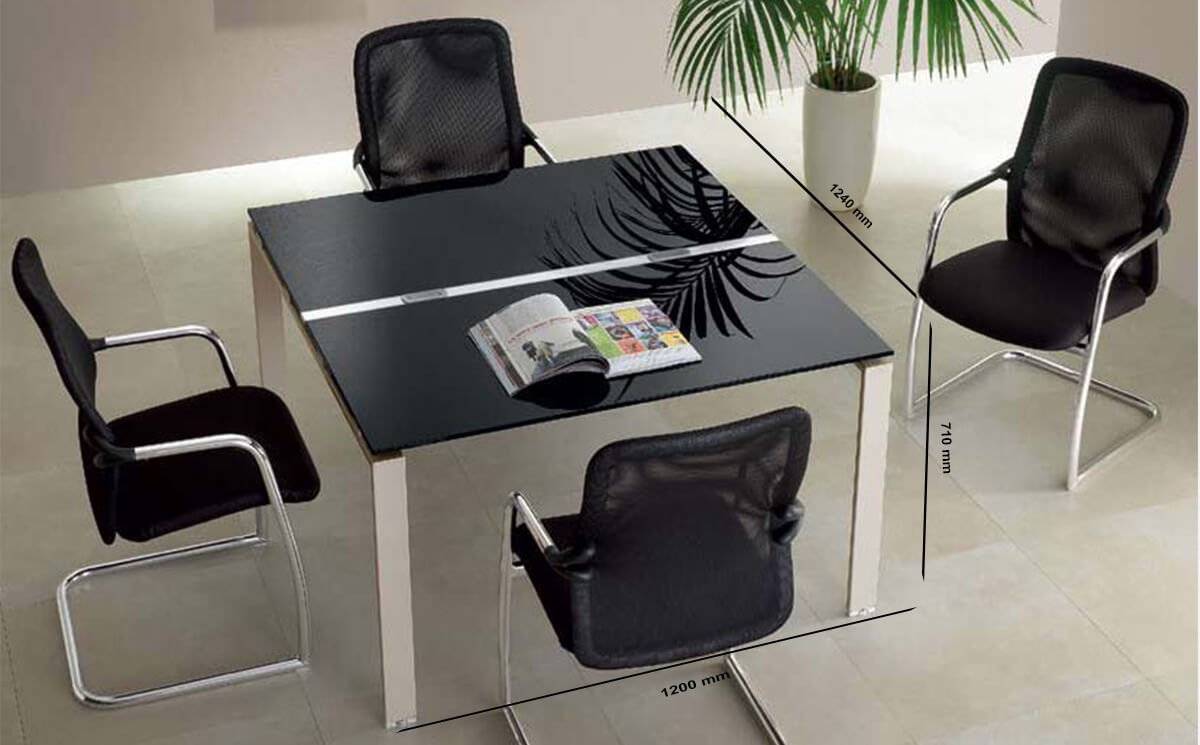 Size Lennox – Square Glass Top Meeting Table