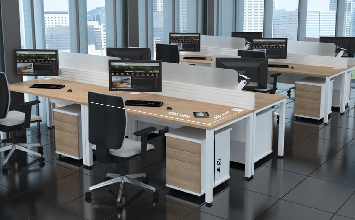 Size Logan – U Leg Double Operational Office Desk