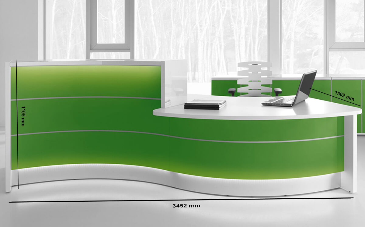 Size Lois – Wave Reception Desk In Orange Lacquered Front