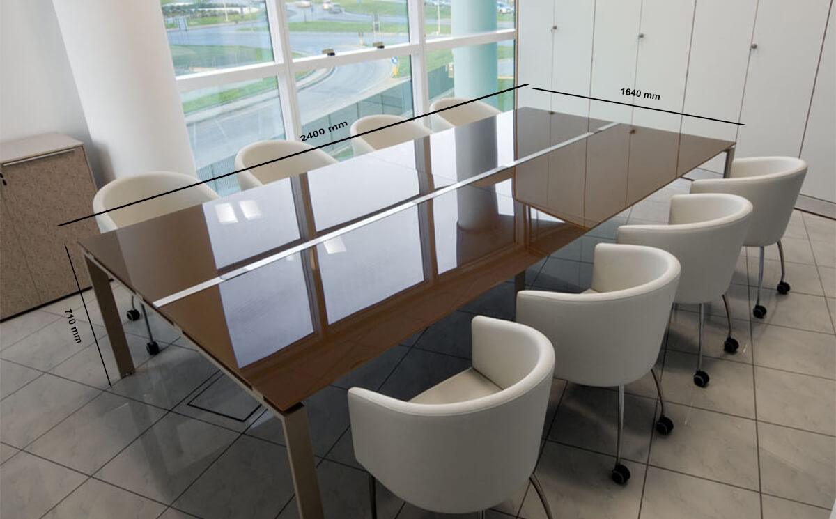 Size Luxe – Rectangle Glass Top Conference Table