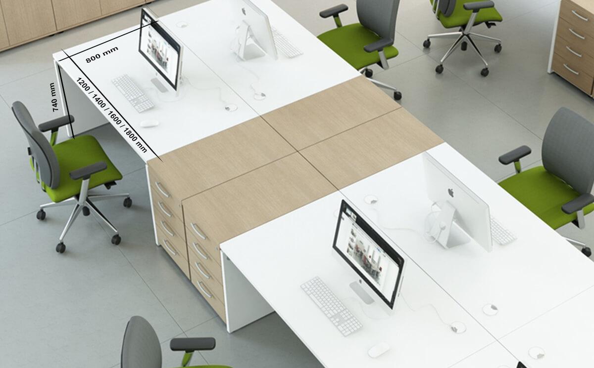 Size Noah – White Operational Office Desk With Slab Leg
