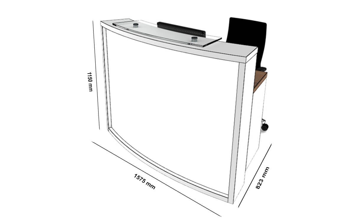 Size Ophelia 2 – White Reception Desk With Wheelchair Access Unit