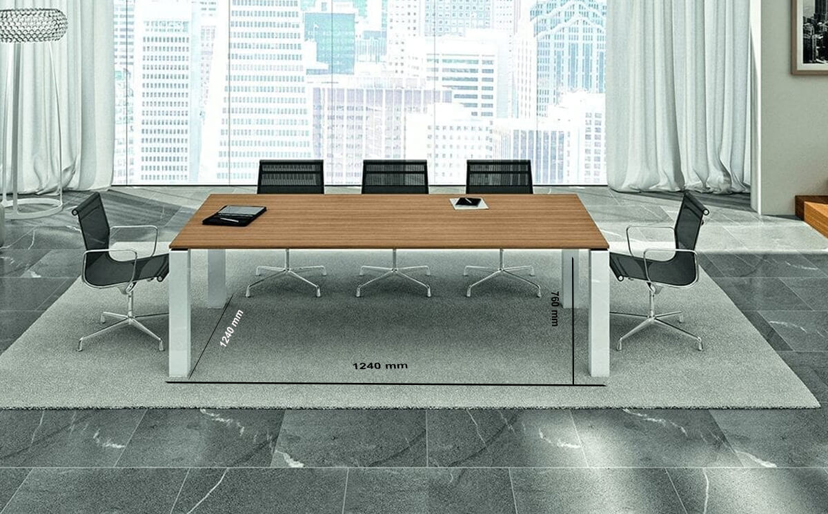 Size Polar – Square Meeting Table With White Legs