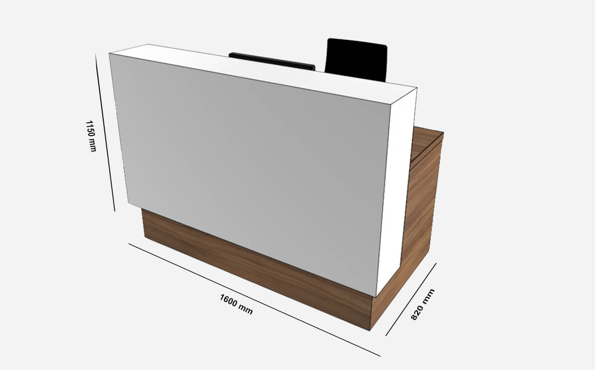 Size Reem – Reception Desk With Wheelchair Access In Premium White