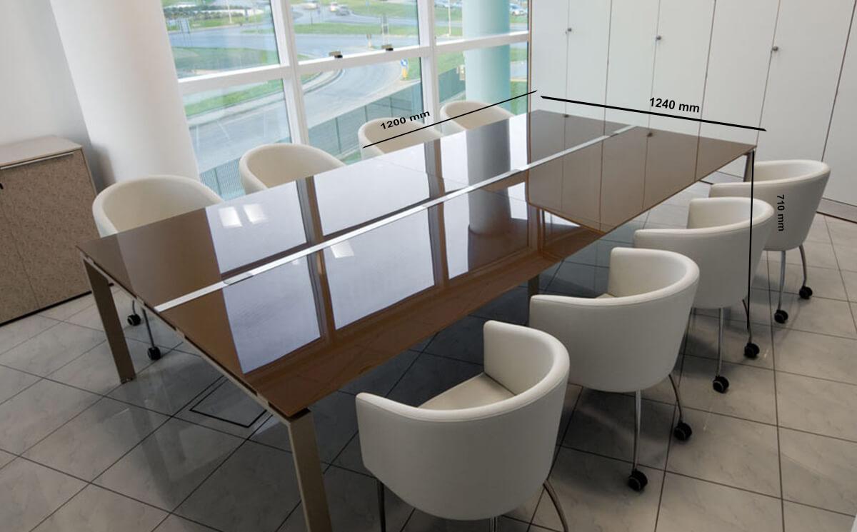 Size (return)lennox – Square Glass Top Meeting Table