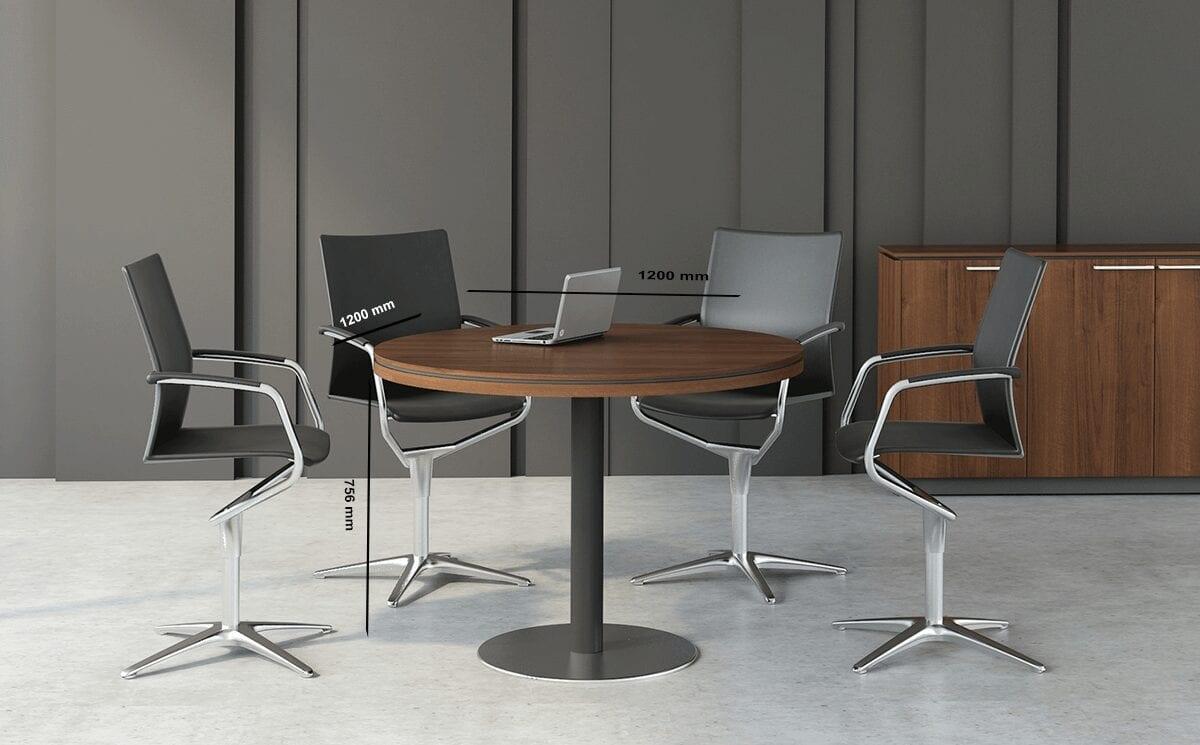 Hamburg - Round Meeting Table with Grey Column