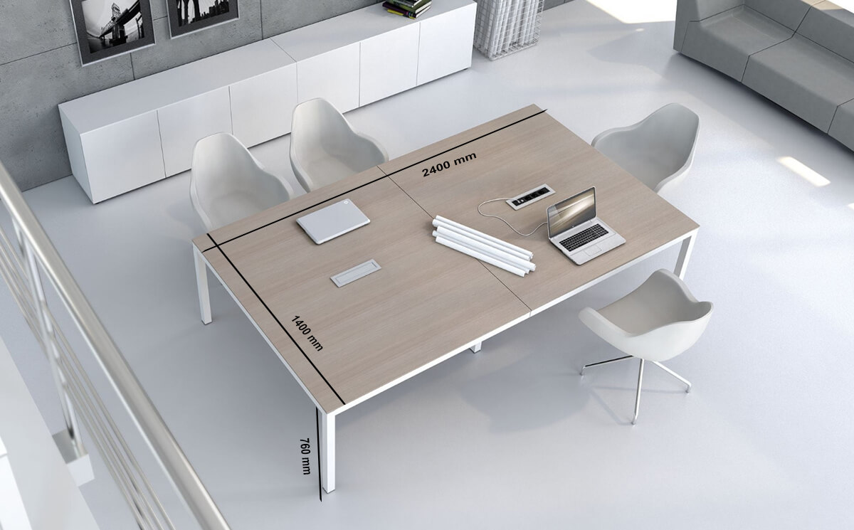 Size Vero – Rectangle Meeting Table With White Legs