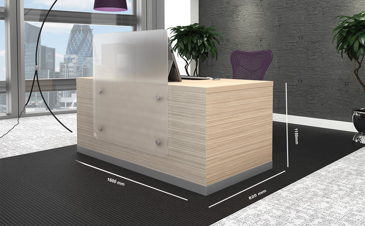 Size Wiley 1 – Sand Lyon Ash Reception Desk With Upstand