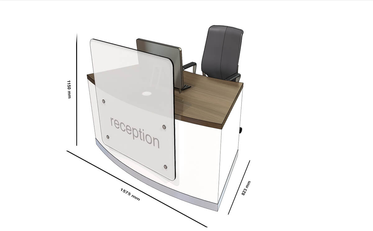 Size Wiley 2 – Reception Desk With Upstand In Multiple Colours (1)