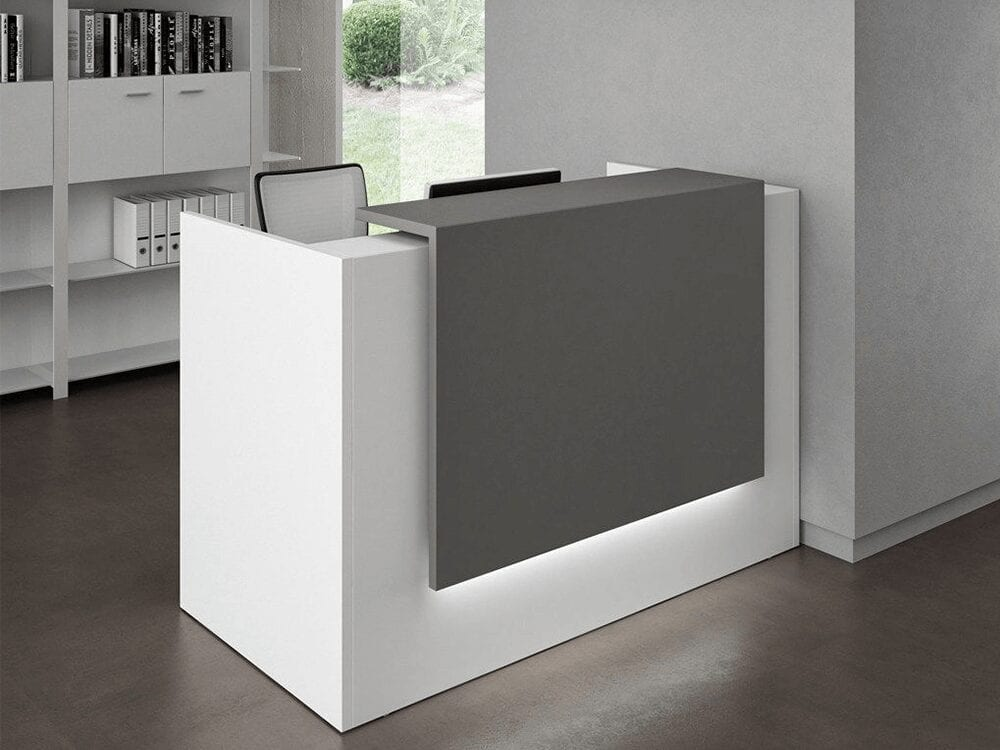 Roman 1 – Straight Reception Desk in White